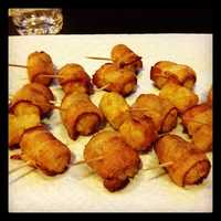 Deep fried bacon wrapped tater tots (sweet potato too!) at Jayme's Chipstix