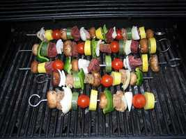 Shish-kabobs at Apollo Gyros and Eleni's Greek Foods