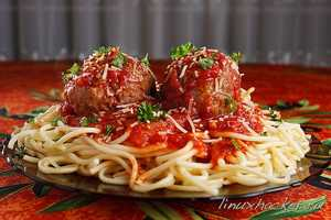 Spaghetti and meatballs at Leadfoot's Bar & Grill