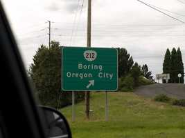 Bored?  Don't head to Boring, Oregon.