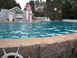 The salt war pool is 18 feet deep.