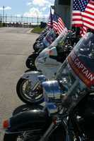 18 Patriot Guard motorcycles lined up to escort the remains of 2LT James A. Des Jardins home to Green Bay.