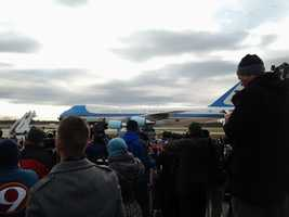 Air Force One lands in Green Bay.