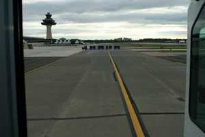 "Weird to be driving on the taxiway at the airport (in the ""people mover"")"