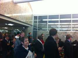 The line at Milwaukee's municipal building Tuesday morning.