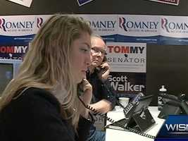 Republican campaign workers in a Whitefish Bay office make last-minute calls.