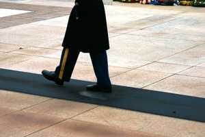The Tomb Guard marches 21 steps down the black mat behind the Tomb, turns, faces east for 21 seconds, turns and faces north for 21 seconds, then takes 21 steps down the mat and repeats the process.