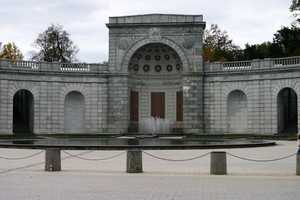 Located at the ceremonial entrance to Arlington National Cemetery is the Women in Military Service for America memorial,.
