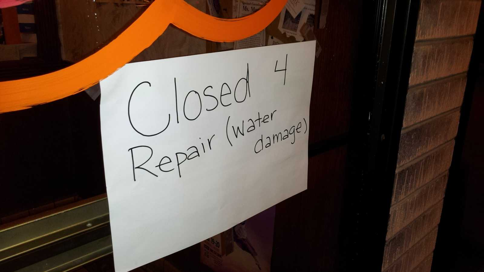Water damage sign