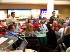WISN 12 held a staff holiday lunch on 12-12-12. Holiday sweaters were encouraged.