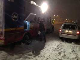 The WISN 12 News live truck in West Bend