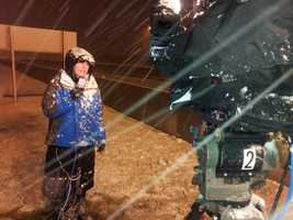 Collen Henry does her live shot near Bayshore Town Center.