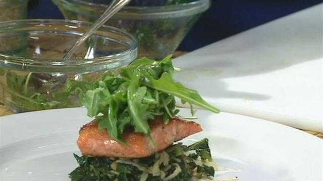 Seared Lake Trout with Kale