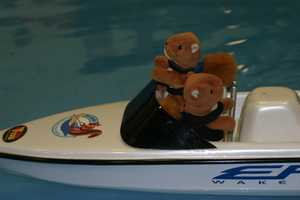 In the boat are a driver & a spotter (stuffed of course) just as you would have if you were water skiing.