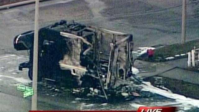 burnt UPS truck