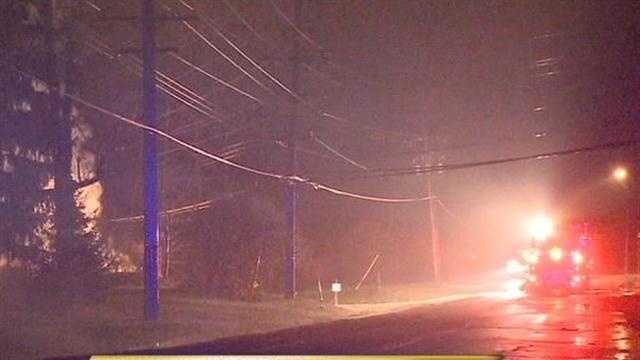 Lightning causes fire and power outage