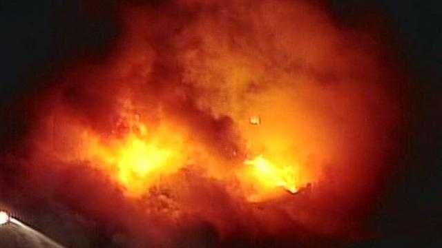 8 alarm fire burns in Burlington