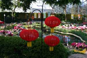 """The Floral Show Dome is also decorated for the current exhibit, """"The Circus Comes to Town""""."""