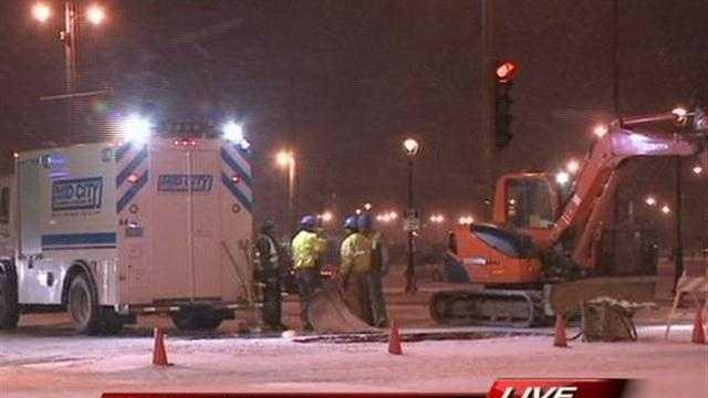 Water main repair in downtown Milwaukee