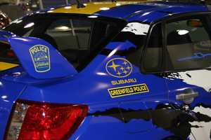 This eye catching ride was donated to the Greenfield PD through a courtesy loan from Schlossmann's Subaru City.