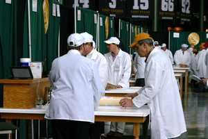 Many tables were set up so the judging teams could work quickly and efficiently through each class.