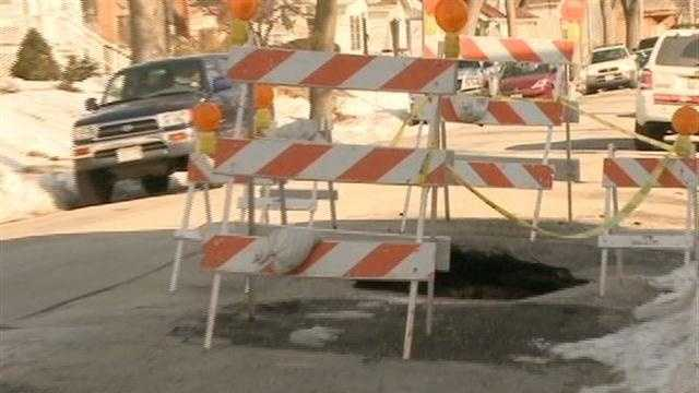 DPW works to fix large south side pothole