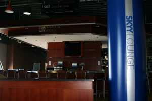 The old home plate bar area has been made over and is now called the Skyy Lounge.