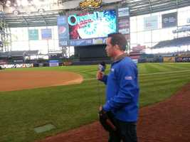 WISN 12 News' Craig McKee brought his glove, just in case he was needed to fill a roster spot.