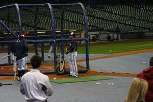 Ryan Braun outside the batting cage