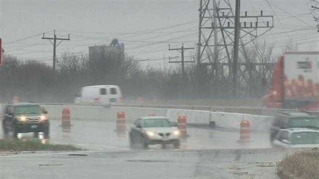Rain causes problems in construction zones