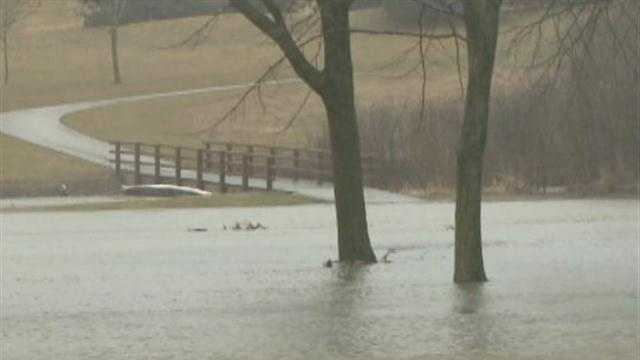 Golf courses under water