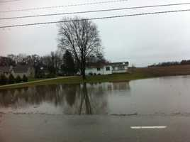 Ponding near a home just south of seven mile on highway 38 in Caledonia.