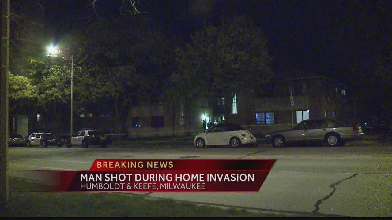 Milwaukee police are looking for the person who shot a man during an overnight home invasion.