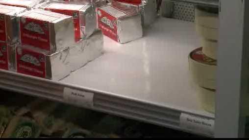 empty cheese shelf