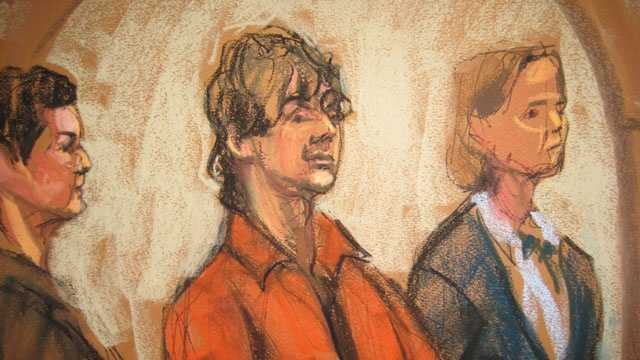 Dzhokhar Tsarnaev in court, 7-10-2013