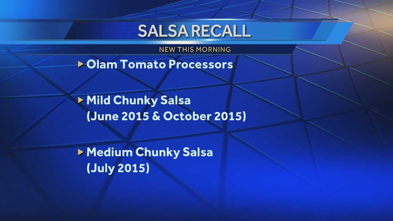Olam Tomato Processors is recalling salsa sold in discount stores because pieces of glass were found in some jars.