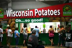 "Wisconsin baked potatoes are ""Oh... so good!"".  Choice of toppings: cheese, salsa, chili, bacon, butter and sour cream."