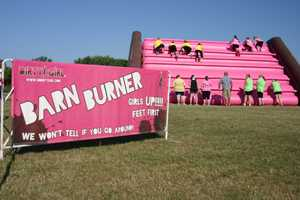 """Obstacle: """"Barn Burner"""" inflatable wall climb up & down"""