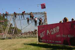 "Obstacle: ""Get A Grip"" cargo net climb"