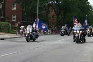 Thousands of people lined the nearly 5 mile parade route.