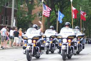 Several hundred police motorcycles participated.