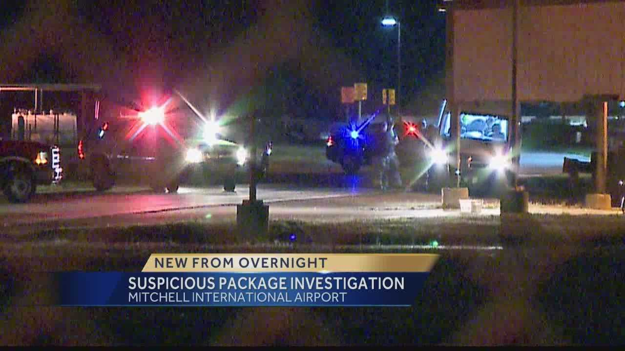 Milwaukee firefighters and sheriff's deputies investigated a suspicious package found near the post office at Mitchell International Airport.  Hillary Mintz reports from the scene.