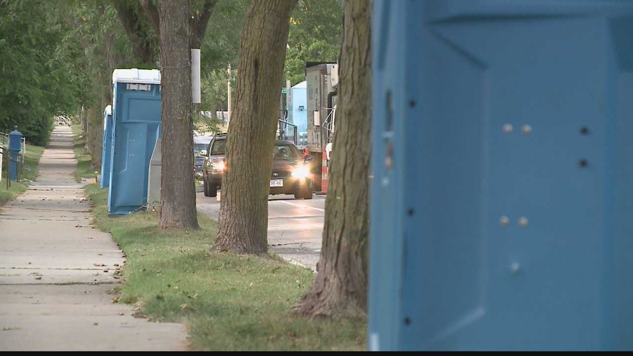 Residents using port-a-potties during sewer work