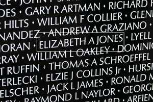 Second Lieutenant Elizabeth Ann Jones- U.S. Army (Panel 5E/ Line 47) is one of the eight women listed on the wall.