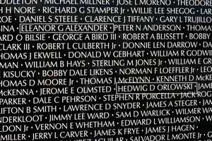 Captain Eleanor Grace Alexander- U.S. Army (Panel 31E, Line 8) andFirst Lieutenant Hedwig Diane Orlowski(Panel 31E, Line 15) are two of the eight women listed on the wall.