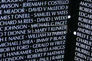Captain Mary Therese Klinker- U.S. Air Force (Panel 1W/ Line 122) is one of the eight women listed on the wall.