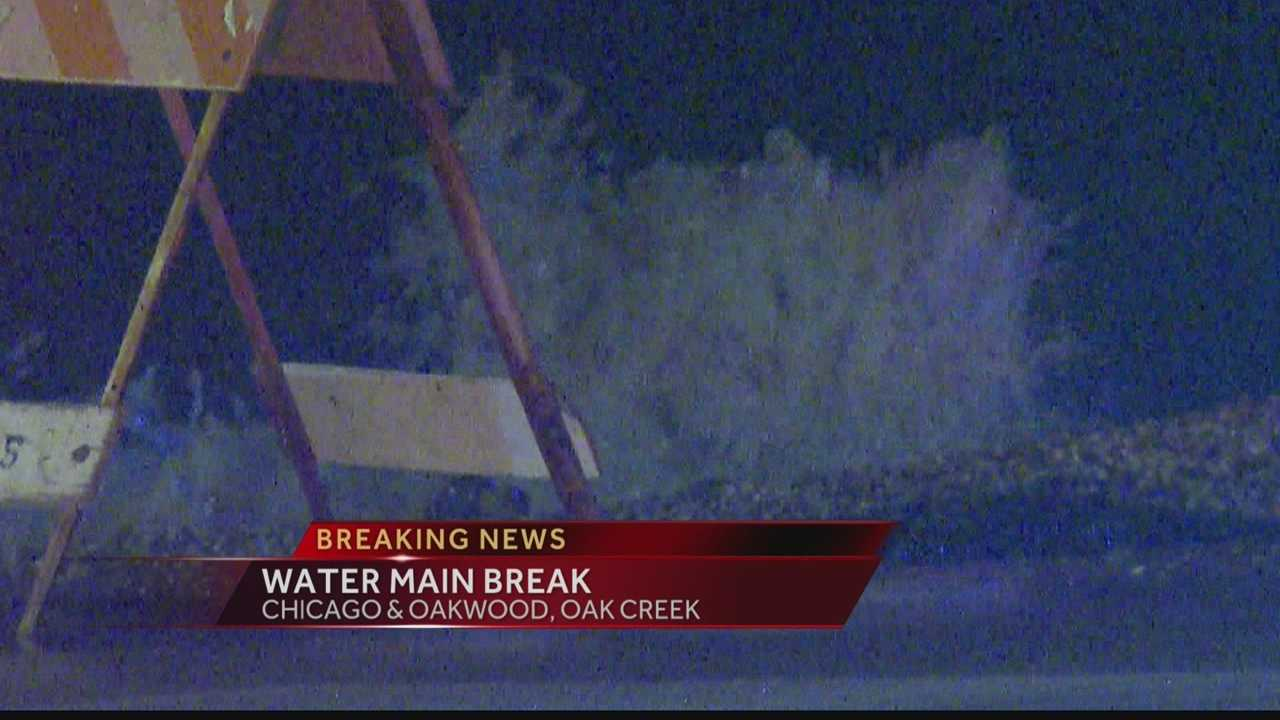 A water main pipe has burst in Oak Creek along Highway 32.