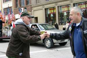 Dryhootch was passing out coffee to veterans along the parade route.