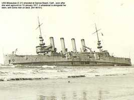 Milwaukee C-21 was decommissioned in place in 1917, and a storm broke her in two in Nov. 1918. She was sold in 1919.