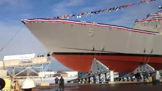 Shipbuilders at Marinette Marine launched LCS-5, the USS Milwaukee, on Wednesday, Dec. 18.